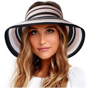 Foldable Wide Brim Sun Visor Straw Hat